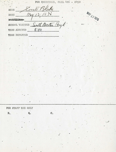 Citywide Coordinating Council daily monitoring report for South Boston High School by Everett Blake, 1976 May 12