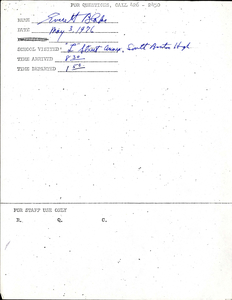 Citywide Coordinating Council daily monitoring report for South Boston High School's L Street Annex by Everett Blake, 1976 May 3