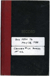 Thomas Kelley personal logbook from the Atlantis (ketch), January 1934-May 25, 1935
