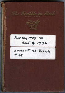 Thomas Kelley personal logbook from the Atlantis (ketch), May 26, 1935-September 8, 1936.