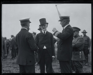 Henry Cabot Lodge being greeted at Fort Devens