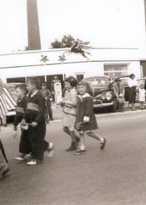 Children marching in the 1957 Plainville Memorial Day Parade