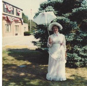 Helenn Cobb in costume for the Town of Plainville 75th Anniversary Diamond Jubilee parade