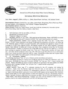 Lowell Southeast Asian Water Festival, Inc. General Meeting minutes, 2004-08-02