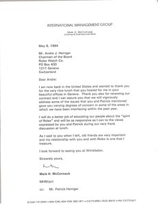 Letter from Mark H. McCormack to Andre J. Heiniger