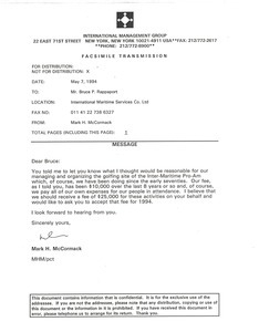 Fax from Mark H. McCormack to Bruce P. Rappaport