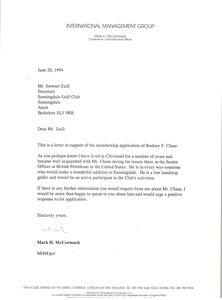 Letter from Mark H. McCormack to Stewart Zuill