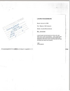 Fax from Laurie Roggenburk to Lidwien Loonen