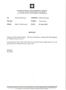 Fax from Mark H. McCormack to Breck McCormack