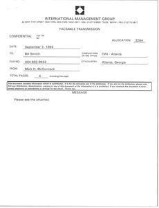 Fax from Mark H. McCormack to Bill Sinrich