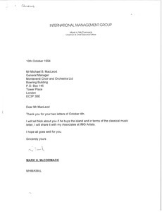 Letter from Mark H. McCormack to Michael B. MacLeod