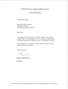 Letter from Mark H. McCormack to Kim Fortin Walters