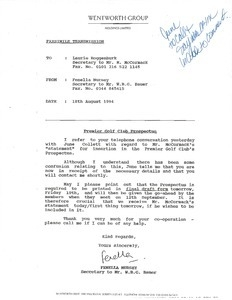 Fax from Fenella Nursey to Laurie Roggenburk