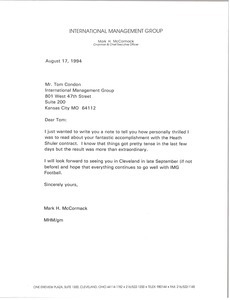 Letter from Mark H. McCormack to Tom Condon