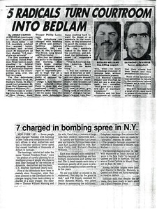 5 radicals turn courtroom into bedlam -- 7 charged in bombing spree in N.Y.