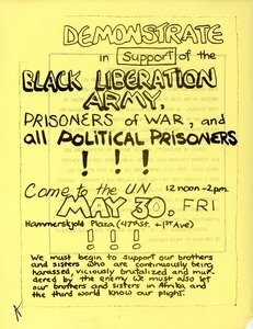 Demonstrate in support of the Black Liberation Army prisoners of war, and all political prisoners!!!