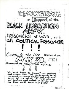 Demonstrate in support of the Black Liberation Army, prisoners of war,and all political prisoners!!!