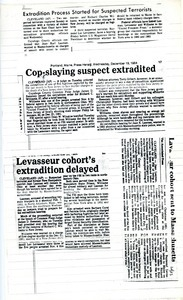Extradition process started for suspected terrorists -- Cop-slaying suspect extradited -- Levasseur cohort's extradition delayed -- Levasseur cohort sent to Maassachusetts
