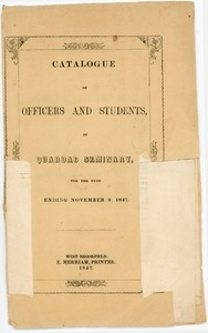 Catalogue of officers and students of Quaboag Seminary, for the year ending November 9, 1847