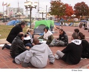 Occupy Baltimore: group meeting by encampment