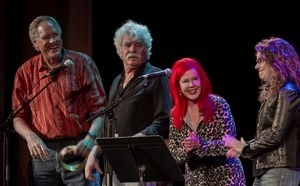 Tom Rush (2d from right) with Tom Chapin, Kate Pierson, and Lucy Kaplansky on stage at the For Pete's Sake concert, Clearwater Festival, Tarrytown Music Hall