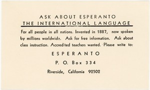 Ask about Esperanto: the international language