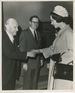 Princess Benedikte shaking hands with Isaac B. Grainger