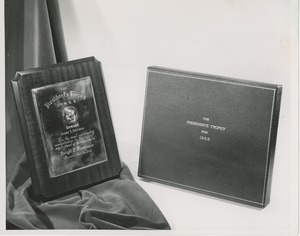 The 1953 president's trophy awarded to George E. Barr in its box