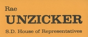 Card promoting Rae Unzicker's candidacy