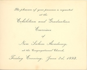 Invitation for the 1893 exhibition and graduation exercises at New Salem Academy