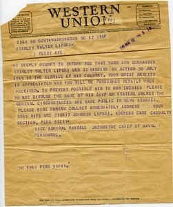 Telegram from Randall Jacobs to Stanley Walter Lipski