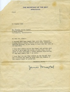 Letter from James Forrestal (Secretary of the Navy) to Stanley Walter Lipski