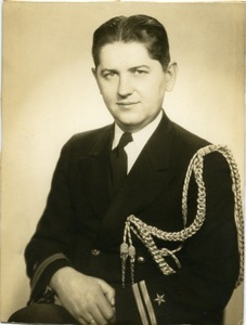 Lt. Stanley W. Lipsiki: half-length studio portrait in naval uniform