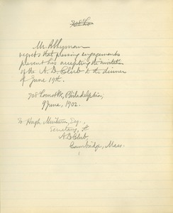 Letter from Benjamin Smith Lyman to the A. D. Club