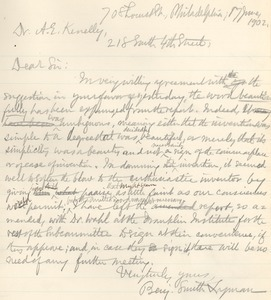 Letter from Benjamin Smith Lyman to Arthur E. Kenelly