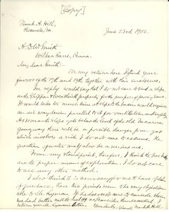 Letter from Frank A. Hill to A. D. W. Smith