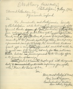 Letter from Benjamin Smith Lyman to Edward Gilbertson