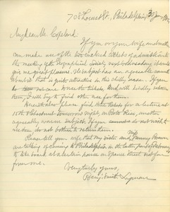 Letter from Benjamin Smith Lyman to Mr. Copeland