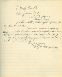 Letter from Benjamin Smith Lyman to James Reed