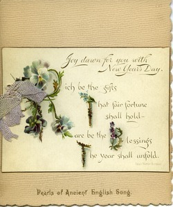New Year's Day greeting card booklet of English poetry