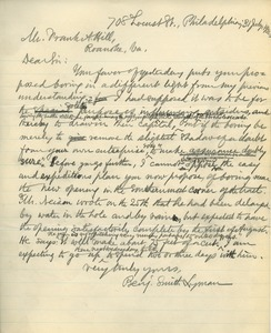 Letter from Benjamin Smith Lyman to Frank A. Hill