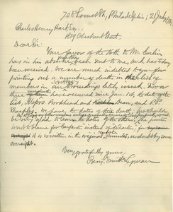 Letter from Benjamin Smith Lyman to Charles Henry Hart