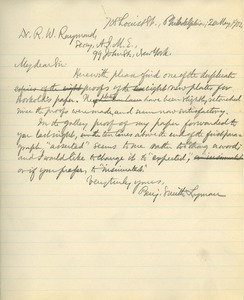 Letter from Benjamin Smith Lyman to Rossiter W. Raymond