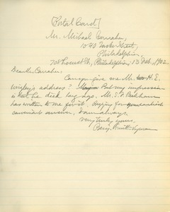 Letter from Benajmin Smith Lyman to Michael Carraher