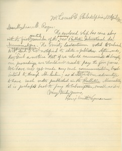 Letter from Benjamin Smith Lyman to Harry Rogers