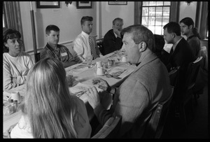 Bob Meers (center) in a lunch-time discussion with Isenberg School of Management students at the University Club, UMass Amherst
