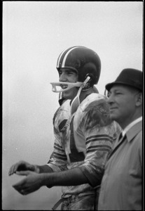 Greg Landry (quarterback) and Vic Fusia (coach), UMass Amherst, at football with University of New Hampshire