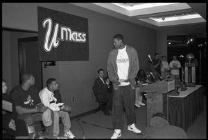 Marcus Camby, before a press conference