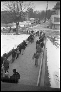 Demonstration against Dow Chemical Co. and the war in Vietnam outside Whitmore Hall, UMass Amherst