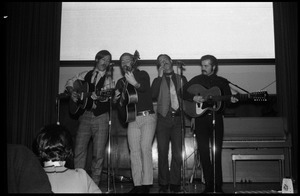 Fabulous Farquahr (Dennis, Bobby, and Frank McGowan, and Doug Lapham) performing at the Bonnie and Clyde Nightclub, Student Union Ballroom, UMass Amherst